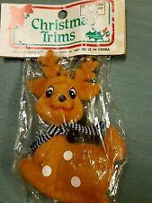 Christmas Trim Vintage Flocked Deer Ornament