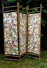 Vtg 1950s FOLDING 3 PANEL BAMBOO SCREEN Cotton ROSES Fabric Room Divider 55 x 60
