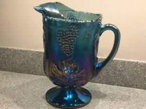 Vintage Indiana Carnival Glass Pitcher Blue Colony Harvest Grape Footed
