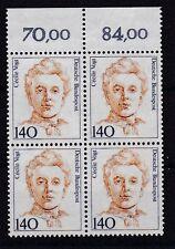 BRD 1989 postfrisch 4er Block ober Rand MiNr. 1432  Cécile Vogt  /(3)