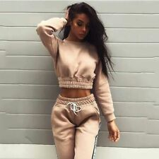 Ladies Long Sleeve Tracksuit Top And Elastic Waist Pants Sports Clothing Set New