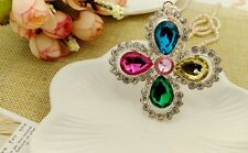 Fashion Gold Crystal Clover Sweater chain Charm Long necklace Pendants DL679