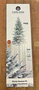 Kaemingk Everlands Artificial Christmas Tree Frosted Snowy Alaskan Fir 7ft 210cm