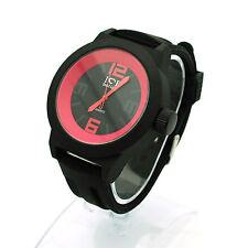 Mens Minimal Simple Round Analog Quartz Silicone Band Buckle Black Wrist Watch