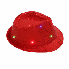 Flashing Light up LED Fedora Trilby Sequin Unisex Fancy Dress Dance Party Hats Red