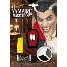 VAMPIR SCHMINK SET Halloween Karneval MakeUp Zähne Gebiss Blut Kostüm Party 4100