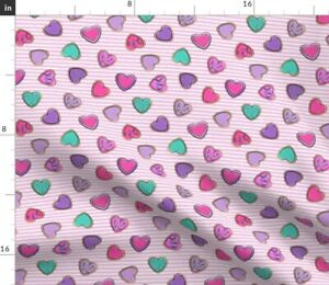 Small Scale Heart Sugar Cookies Valentines Multi Spoonflower Fabric by the Yard
