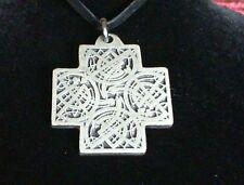 Book of Kells Celtic Cross Pewter Pendant Leather Necklace! New Irish Scottish