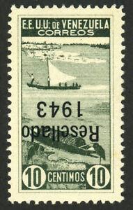 VENEZUELA #381 INVERTED Overprint Surcharge Latin America Postage 1943 MLH OG VF