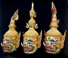Set 3 Mask Khon Giant King Gold Thai Handmade Exclusive Home Decor Collectible