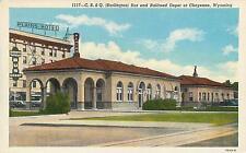 CHEYENNE, WY Wyoming  C B & Q BUS, Railroad DEPOT  c1940s Sanborn Linen Postcard