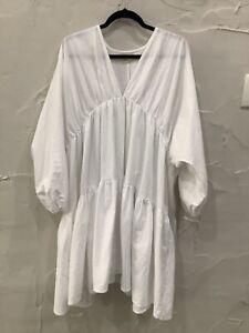 Zulu & Zephyr - white long balloon sleeve, tiered, textured cotton midi DRESS.14