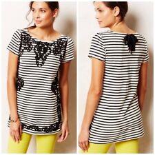 Anthropologie Postmark Scrolled Striped Tunic Dress Boho Black White Sz XS