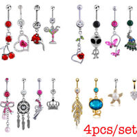 4Pcs Dangle Belly Button Rings Navel  Rings Surgical Steel Body Piercing Jewelry