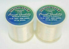 (2) 1/4 SPOOLS OF MEGMASTER MONOFILAMENT FISHING LINE - 6LB/2000YDS CLEAR
