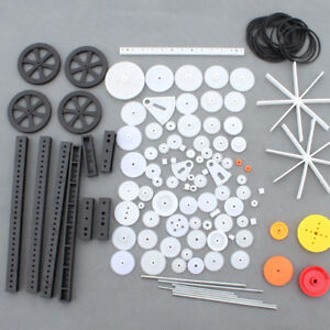 92Pcs Single / Double Plastic Gear Motor Rack Pulley Gearbox Model Toy Car