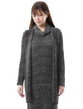 SPECCHIO PLEATS Border print Hooded collar Long jacket women Hoodie cardigan
