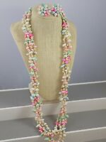 """Vintage Miniature Colored Shell Necklace & Earring Set 4 Strands 32"""" Long"""