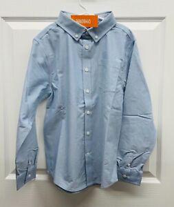 NWT Gymboree Boys Light Blue Uniform Button Down Dress Shirt Top, LARGE (10-12)