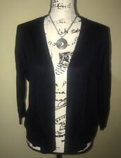 Verve Ami Women Sz Medium Navy Blue Crop Short Open Front Cardigan 3/4 Sleeve