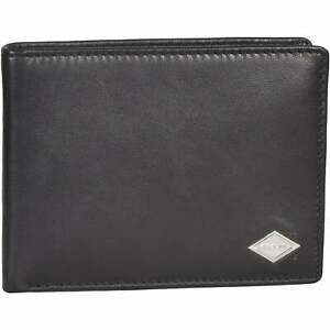 Replay Premium Bi-Fold Coin-Pocket Men's Leather Wallet, Black One Size