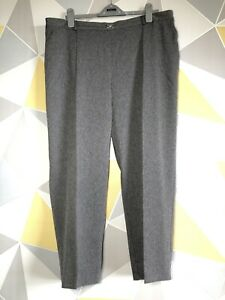 MARKS AND SPENCER Ladies Size 22 Trousers Formal Workwear Grey Herringbone VGC