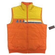 STRANGER THINGS - Mens L Orange Yellow Stripe Sleeveless Puff Vest NEW w/ Tags