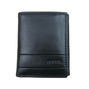Fossil Lufkin Trifold Black Leather Mens Wallet NEW SML1395001
