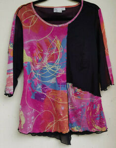 TS Ladies Top Black and Pink Design Size XS
