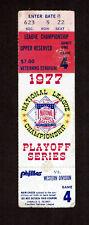1977  NLCS GAME 4 TICKET STUB  Los Angeles Dodgers vs. Philadelphia Phillies