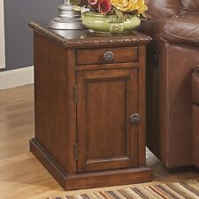 Ashley Signature Design Laflorn Chairside Rectangular End Table in Dark Brown