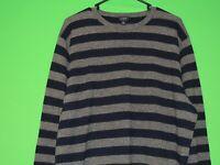 J.CREW Mens Size XL Extra Large Blue / Gray Striped Crewneck Sweatshirt