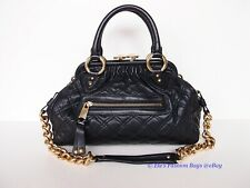 NWT Marc Jacobs Stam Mini Quilted Leather Shoulder Tote w/ Strap BLACK AUTHENTIC