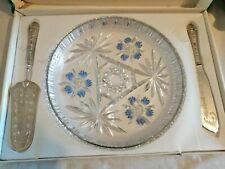 Beautiful Italian Glass Cake Serving Set with Blue Flowers Esclusivista Decor