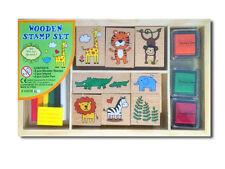 Infantil Sello De Madera Set Con Motivo Animales Lápices Colores