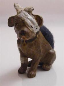 COLD PAINTED BRONZE INJURED DOG PIN CUSHION