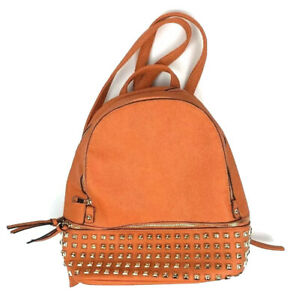 Dasein- Orange Buffalo Faux Leather Studded Backpack