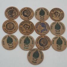 Vintage Lot of 13 Wooden Nickel Advertising