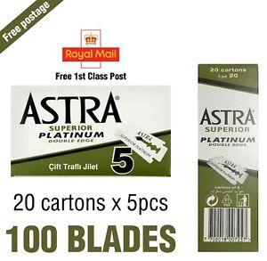 Astra Green Superior Platinum Double Edge Safety Razor Blades 20 X 5 100 Blades