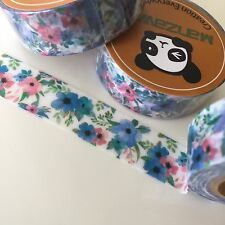 WASHI TAPE BLUE & PINK FLORAL 15MM X 10MTR ROLL PLAN CRAFT SCRAP WRAP