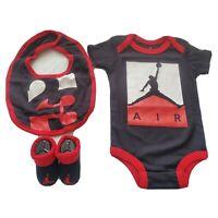 3 Piece Nike Air Jordan Baby Boys Gift Set, Size 0-6 Months Bodysuit Booties Bib