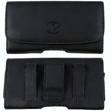 Black Leather Case Holster fits w/ silicone case on For Samsung Cell Phones