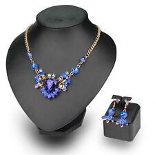 4 Colours Alloy Glass Rhinestones Necklace Earrings Beautiful Lady Jewellery Set