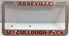1960s BUICK ROSEVILLE Mc CULLOUGH-PECK CALIFORNIA CAR DEALER License Plate Frame