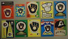 1982 1983 84 85 86 87 88 89 90 Fleer Milwaukee Brewers Sticker Lot 19 Different