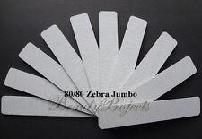 (10pcs) Zebra Jumbo Nail Files 80/80 Grit Square 7x1 Acrylic Sanding Nail File