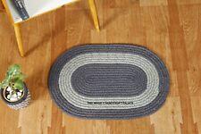 "Braided 15""x23"" Oval Jute Rug Indian Home Living Room Floor Carpet Mat Grey"