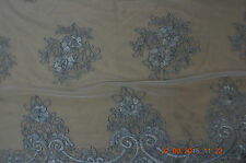 Corded lace, silver, 110 cm, sold by the meter
