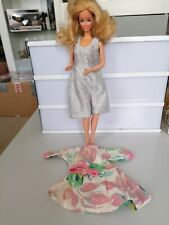 Vintage 1989 Barbie Doll In Silver Dress And Spare Outfit