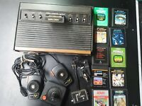 VINTAGE ATARI 2600 LIGHT SIXER CONSOLE WITH JOYSTICK, PADDLES, 11 GAMES & MORE!